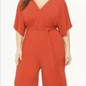 FOREVER 21 PLUS Red Surplice Jumpsuit  SZ 3X NWT